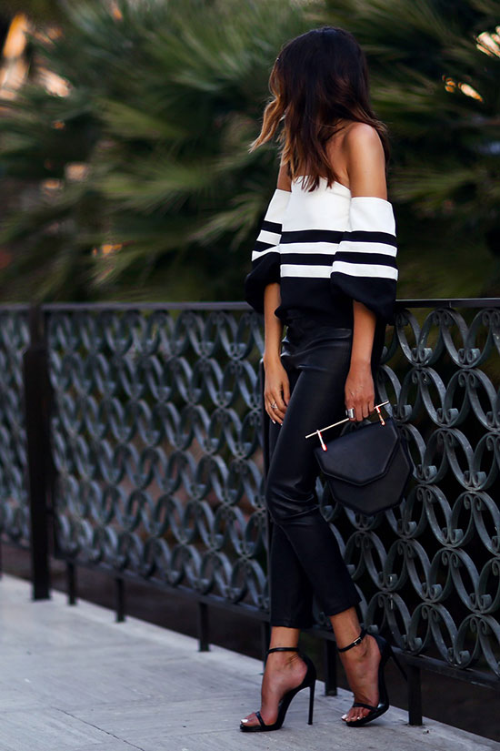 The Top Blogger Looks Of The Week: Fashion blogger 'Fashioned Chic' wearing a black and white stripe off the shoulder top, black leather skinny pants, black ankle strap heeled sandals and a black handbag. Summer outfit, spring outfit, night out outfit, party outfit, black and white outfit, street chic style, summer fashion trends, summer trends 2016.