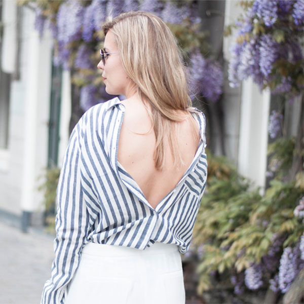 Here's How To Step Up Your Shirt Game: Fashion blogger 'Style by Jules' wearing a pale blue stripe shirt, white culottes, black block heel sandals and round aviator sunglasses. Spring outfit, summer outfit, casual outfit, comfy outfit, street style, street chic style, fashion trends 2016, summer trends 2016.