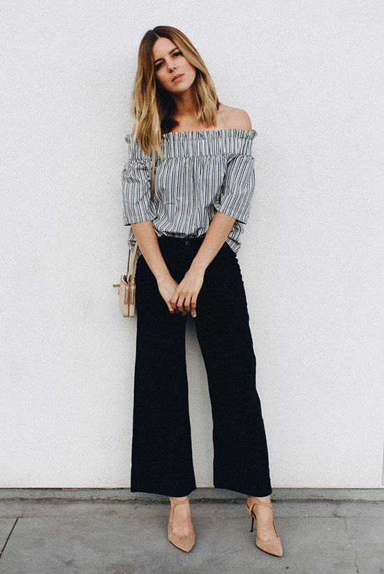 Summer Outfits - The Top Blogger Looks Of The Week: Fashion blogger 'Take Aim' wearing a stripe off the shoulder top, black culottes, nude suede heels and a nude shoulder bag. Summer outfit, casual outfit, summer work outfit, office style, night out outfit, day to night outfit, street chic style, street style.