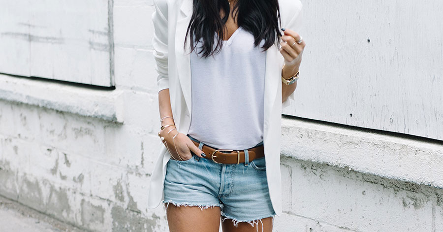 Summer Outfits - The Top Blogger Looks Of The Week: Fashion blogger 'Not Your Standard' wearing a white blazer, a white v-neck t-shirt, a white bandana, distressed denim shorts, a brown belt, white sneakers and aviator sunglasses. Summer outfit, casual outfit, comfy outfit, street style, sneakers outfit, athleisure outfit, summer layers, summer trends 2016.