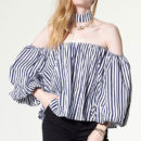 Storets Detachable Tie Bloom Blouse - blue stripe off the shoulder top, blue long sleeve stripe off the shoulder top, blue stripe off shoulder top, blue stripe long sleeve off shoulder top