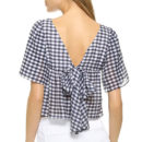 Club Monaco Alham Top, blue gingham top, blue gingham v-back top, blue gingham bow back top, blue gingham tie back top
