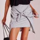 Missguided Tie Front Mini Skirt - grey knit mini skirt, grey jersey mini skirt, grey knotted mini skirt, grey tie front mini skirt