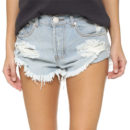 One Teaspoon The Beauty Bandits Shorts - light distressed denim shorts, light raw hem shorts, light wash distressed denim shorts, light cutoff denim shorts