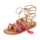 Schutz Patricia Sandals - colorful sandals, pom pom sandals, tassel sandals, colorful lace up sandals, brown lace up sandals