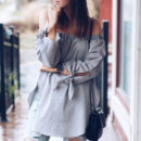 Shein Off The Shoulder Knotted Blouse, grey off the shoulder top, grey long sleeve off the shoulder top, grey off shoulder top, grey long sleeve off shoulder top