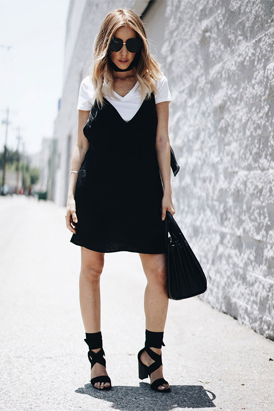 47b5fb09384a How To Wear The Slip Dress Over T-shirt Trend | Be Daze Live