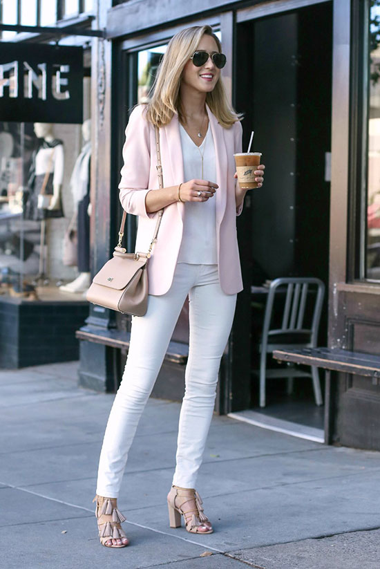 Summer Outfits - The Top Blogger Looks Of The Week: Fashion blogger 'Memorandum' wearing a blush blazer, a white v-neck blouse, white skinny jeans, nude tassel heeled sandals, aviator sunglasses and a blush shoulder bag. Spring outfit, summer outfit, casual outfit, business casual outfit, summer work outfit, office outfit, office style, spring work outfit, 9 to 5 chic.