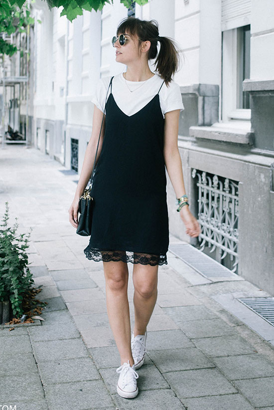 The Best Outfit Ideas Of The Week - Fashion blogger 'Polienne' wearing a black slip dress, a white t-shirt, white converse sneakers, round sunglasses and a black shoulder bag. Summer outfit, summer trends 2016, casual outfit, comfy outfit, sneakers outfit, black and white outfit, minimal outfit, street style.