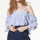 Storets_Arden Top - blue stripe blouse, blue stripe cold shoulder top, blue stripe cold shoulder blouse