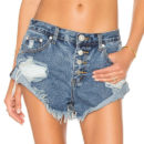 One Teaspoon x Revolve Bandits Denim Shorts - distressed denim shorts, distressed cutoff denim shorts, denim cuttoffs, raw hem denim shorts
