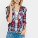 Express Plaid Shirt - red plaid shirt, red check print shirt, red checkered shirt