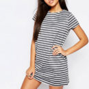 Missguided Stripe T-Shirt Dress - grey stripe dress, grey stripe knit dress, grey stripe t-shirt dress, grey stripe knit dress
