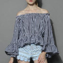 Chicwish Chic Check Top - black check print off the shoulder top, black gingham off the shoulder top, black plaid off the shoulder top