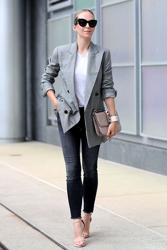 The Best Outfit Ideas Of The Week: Fashion blogger 'Brooklyn Blonde' wearing a grey blazer, a white t-shirt, black washed skinny jeans, nude heeled sandals, black sunglasses and a blush clutch. Fall outfit, spring outfit, casual outfit, night out outfit, street chic style, fall trends 2016.