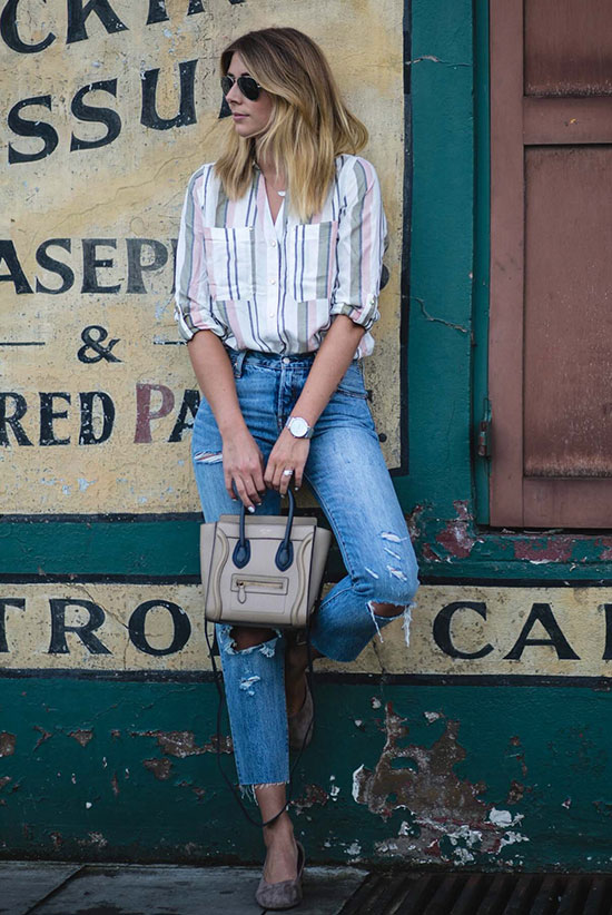 The Best Outfit Ideas Of The Week: Fashion blogger 'EJ Style' wearing a blush stripe shirt, hight waist crop jeans, grey suede block heel pumps, aviator sunglasses and a cream shoulder bag. Spring outfit, summer outfit, casual outfit, comfy outfit, simple outfit, easy outfit, street style, spring trends 2016, summer trends 2016.