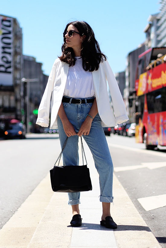 The Best Outfit Ideas Of The Week: Fashion blogger 'Fashion Mask' wearing a white blazer, a white t-shirt, mom jeans, a black belt, black flat mules, black clubmaster sunglasses and a black shoulder bag. Spring outfit, summer outfit, fall outfit, casual outfit, comfy outfit, minimal outfit, tomboy outfit, spring trends 2016, summer trends 2016, fall trends 2016.