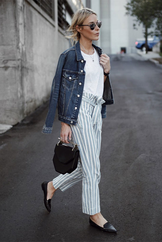 The Best Outfit Ideas Of The Week: Fashion blogger 'Happily Grey' wearing a denim jacket, a white t-shirt, light blue stripe ankle pants, black loafers, a black handbag and silver mirror sunglasses. Spring outfit, fall outfit, summer outfit, casual outfit, comfy outfit, street style, spring trends 2016, fall trends 2016.