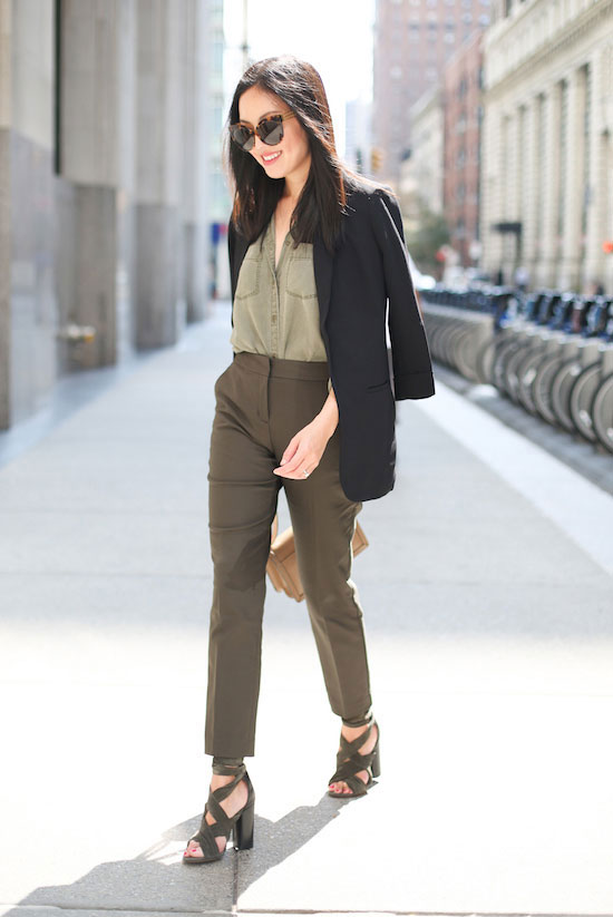 The Best Outfit Ideas Of The Week: Fashion blogger '9 to 5 Chic' wearing a black blazer, a military shirt, khaki crop pants, khaki lace up sandals, brown sunglasses and a nude shoulder bag. Spring outfit, fall outfit, spring work outfit, fall work outfit, office wear, office outfit, business casual, fall trends 2016.