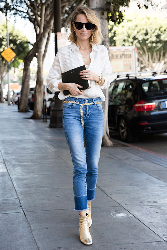 The Best Outfit Ideas Of The Week: Fashion blogger 'Anine's World' wearing a white blouse, raw hem crop jeans, a metallic chain belt, golden ankle booties, black sunglasses and a black clutch. Spring outfit, Summer outfit, casual outfit, street style, street chic style, night out outfit, fall trends 2016.