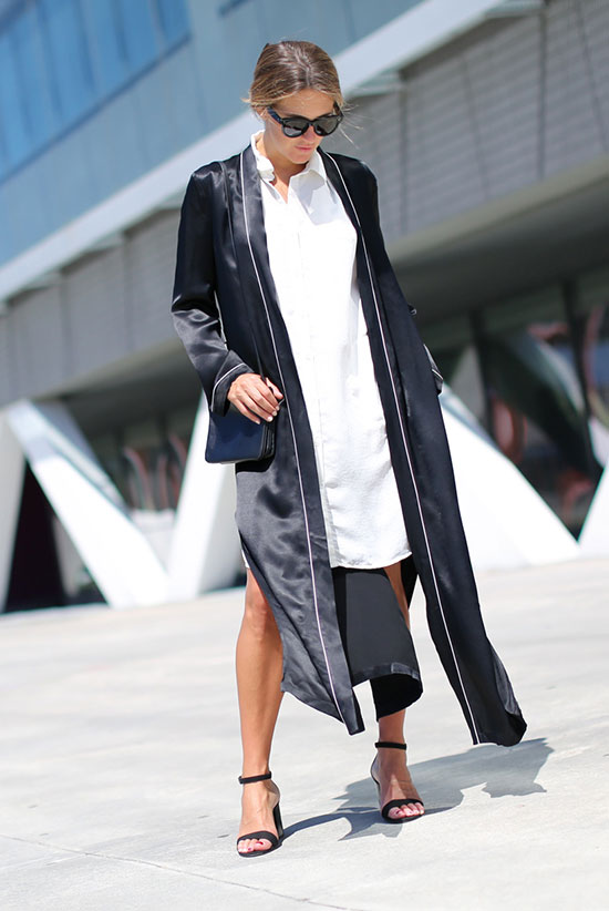 The Best Outfit Ideas Of The Week: Fashion blogger 'Clochet' wearing a navy silk robe, a white shirt dress, black block heel sandals, black sunglasses and a black shoulder bag. Summer outfit, summer layers, edgy outfit, summer trends 2016, night out outfit, casual outfit, minimal outfit, trendy outfit, street style.