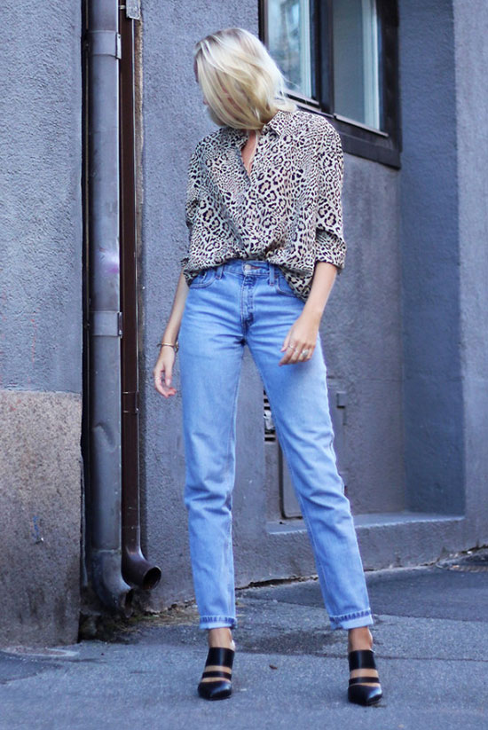 The Best Outfit Ideas Of The Week: Fashion blogger 'Ellen Claesson' wearing a leopard print shirt, mom jeans and black pointy toe heeled mules. Summer outfit, fall outfit, minimal outfit, simple outfit, easy outfit, casual outfit, night out outfit, street style, street chic style, timeless outfit.