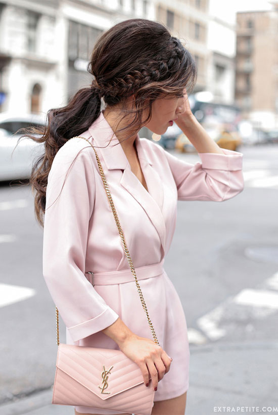 The Best Outfit Ideas Of The Week: Fashion blogger 'Extra Petite' wearing a blush long sleeve romper, brown heeled sandals and a blush shoulder bag. Spring outfit, summer outfit, party outfit, night out outfit, blush outfit, monochrome outfit.