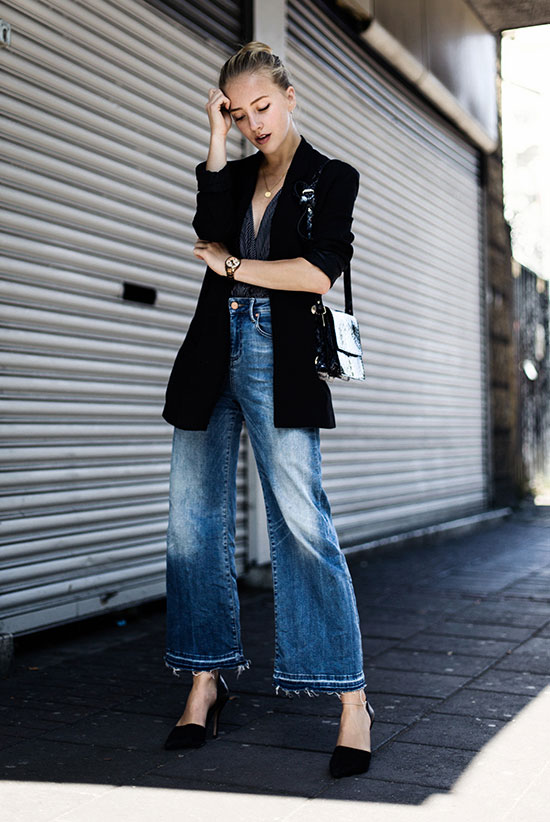 The Best Outfit Ideas Of The Week: Fashion blogger 'Framboise Fashion' wearing a black velvet blazer, a black wrap blouse, denim culottes, black pointy toe heels and a black shoulder bag. Spring outfit, Fall outfit, casual outfit, street chic style, street style, work outfit, fall trends 2016.