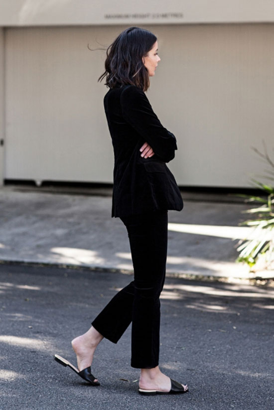 The Best Outfit Ideas Of The Week: Fashion blogger 'Harper & Harley' wearing a velvet blazer, velvet crop pants and black leather slide sandals. Spring outfit, fall outfit, all black outfit, casual outfit, office wear, work outfit, minimal outfit, edgy outfit, street style, street chic style, fall trends 2016.