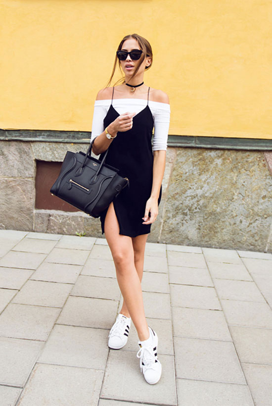 The Best Outfit Ideas Of The Week: Fashion blogger 'Kenza' wearing a white off the shoulder top, a black slip dress, white sneakers, black sunglasses and a black handbag. Summer outfit, casual outfit, comfy outfit, athleisure outfit, sneakers outfit, black and white outfit, summer trends 2016, game day outfit, street style.