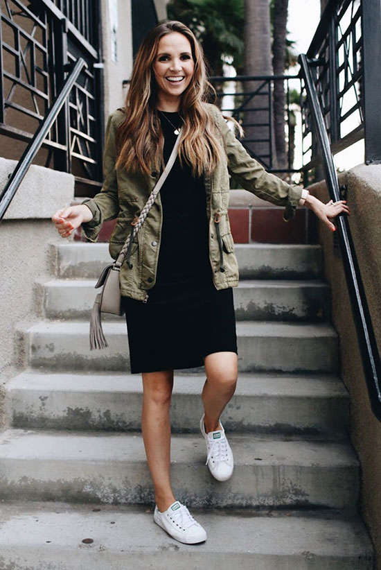 The Best Outfit Ideas Of The Week: Fashion blogger 'Merrick's Art' wearing a military jacket, a black knit dress, white sneakers and a grey shoulder bag. Fall outfit, casual outfit, comfy outfit, game day outfit, athleisure outfit, sneakers outfit, street style, simple outfit, fall trends 2016.