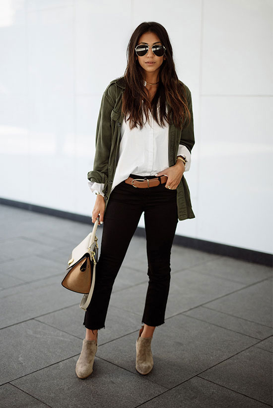 The Best Outfit Ideas Of The Week: Fashion blogger 'Not Your Standard' wearing a military jacket, a white shirt, a brown belt, black crop jeans, beige suede booties, a nude handbag and aviator sunglasses. Spring outfit, fall outfit, casual outfit, fall layers, spring layers, street style, fall trends 2016.
