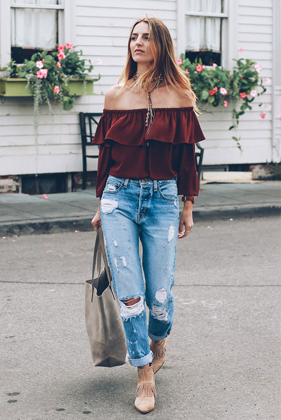 The Best Outfit Ideas Of The Week: Fashion blogger 'Prosecco & Plaid' wearing a burgundy long sleeve off the shoulder top, distressed crop jeans, beige suede fringe booties and a grey tote bag. Spring outfit, fall outfit, transitional outfit, casual outfit, boho chic outfit, boho outfit, fall trends 2016, street style.