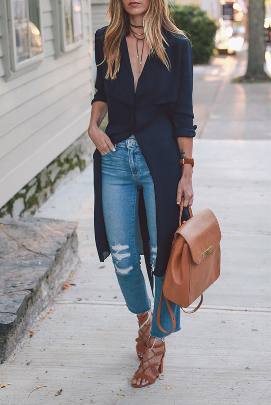 The Best Outfit Ideas Of The Week: Fashion blogger 'Prosecco & Plaid' wearing a black trench coat dress, distressed crop jeans, brown lace up sandals, a brown choker necklace and a brown leather backpack. Spring outfit, summer outfit, casual outfit, night out outfit, chic street style, street style.