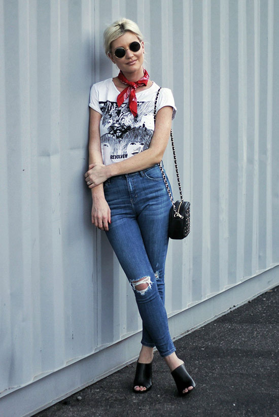 The Best Outfit Ideas Of The Week: Fashion blogger 'The Nomis Niche' wearing a red bandana, a graphic t-shirt, distressed skinny jeans, black mules, a black shoulder bag and round sunglasses. Summer outfit, casual outfit, boho chic outfit, boho outfit, festival outfit, hipster outfit, street style, summer trends 2016.