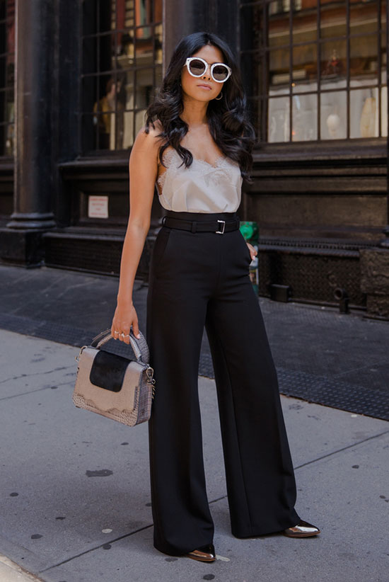 The Best Outfit Ideas Of The Week: Fashion blogger 'Walk In Wonderland' wearing a grey cami top, black wide leg pants, metallic heels, white sunglasses and a grey handbag. Summer outfit, casual outfit, party outfit, night out outfit, work outfit, street style, street chic style.