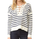 Madewell Lace Up Sweater - blue stripe sweater, navy stripe sweater, blue stripe lace up sweater, navy stripe lace up sweater