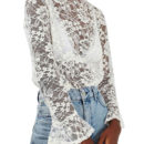 Topshop Ruffle Collar Lace Top - white lace flare sleeve top, white lace long sleeve top, white lace turtleneck top