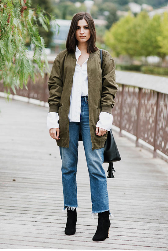 The Best Outfit Ideas Of The Week: Fashion blogger 'Aria Di Bari' wearing a military jacket, a white oversized shirt, crop straight jeans, black mid-calf booties and a black shoulder bag. Fall outfit, winter outfit, fall layers, minimal outfit, street style, street chic style, fall trends 2016.