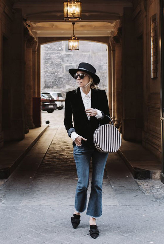 The Best Outfit Ideas Of The Week: Fashion blogger 'Damsel In Dior' wearing a black velvet blazer, a white blouse, a black bolero hat, crop flare jeans, black flat mules and a black stripe round bag. Fall outfit, casual outfit, comfy outfit, night out outfit, fall trends 2016, black and white outfit.