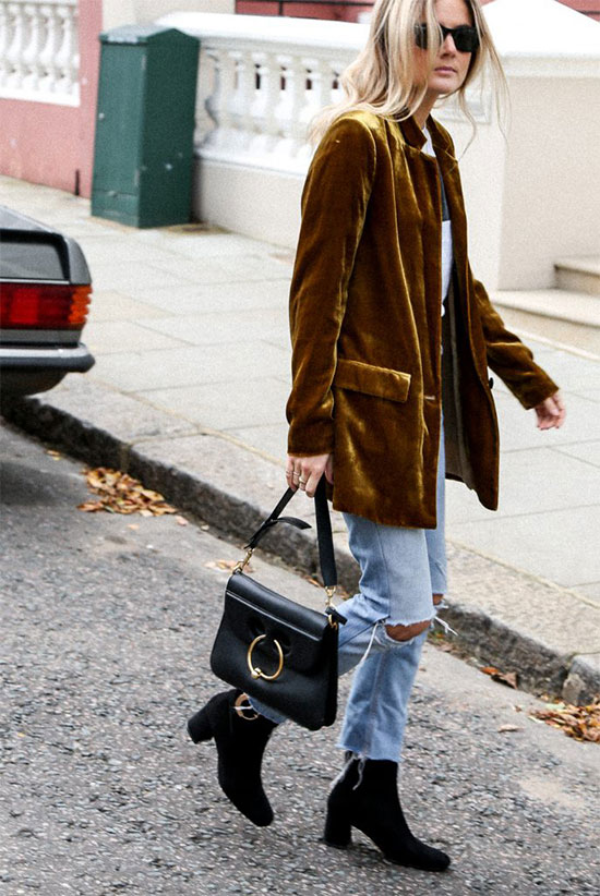 The Best Outfit Ideas Of The Week: Fashion blogger 'Fashion Me Now' wearing a yellow velvet blazer, a graphic t-shirt, distressed crop jeans, black suede booties, black sunglasses and a black shoulder bag. Spring outfit, fall outfit, casual outfit, edgy outfit, trendy outfit, fall trends 2016, street style.