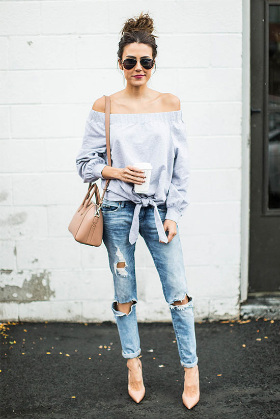The Best Outfit Ideas Of The Week: Fashion blogger 'Hello Fashion Blog' wearing a blue off the shoulder top, distressed boyfriend jeans, nude heels, aviator sunglasses and a blush shoulder bag. Spring outfit, summer outfit, casual outfit, night out outfit, street style, street chic style, cute outfit, easy outfit.