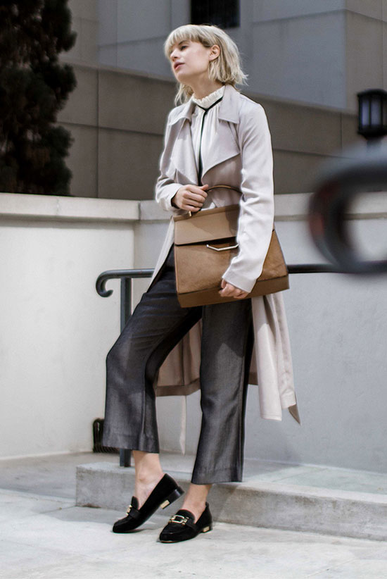 The Best Outfit Ideas Of The Week: Fashion blogger 'Just Another Fashion Blog' wearing a beige trench coat, a white turtleneck blouse, grey straight crop pants, black suede loafers and a brown suede handbag. Spring outfit, fall outfit, work outfit, office outfit, 9 to 5 chic, office wear, business casual, fall layers, trench coat outfit, comfy outfit, fall trends 2016.