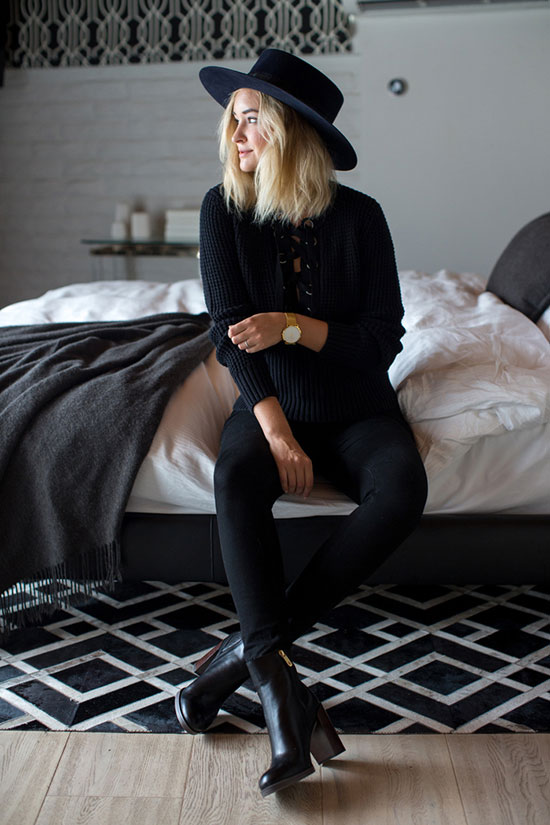 The Best Outfit Ideas Of The Week: Fashion blogger 'Late Afternoon' wearing a black fedora, a black lace up sweater, black lace up skinny jeans and black heeled ankle boots. Fall outfit, all black outfit, casual outfit, street style, night out outfit, boho chic outfit, boho outfit, fall trends 2016.