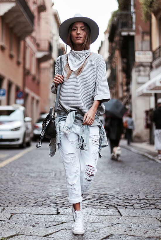 The Best Outfit Ideas Of The Week: Fashion blogger 'Mexiquer' wearing a grey fedroa, a white bandana, a grey crop sleeve sweatshirt, a chambray shirt around the waist, light distressed boyfriend jeans, white converse sneakers and a grey shoulder bag. Spring outfit, fall outfit, casual outfit, comfy outfit, spring layers, fall layers, athleisure outfit, boho outfit, travel outfit, boho chic outfit, festival outfit, sneakers outfit, fall trends 2016.
