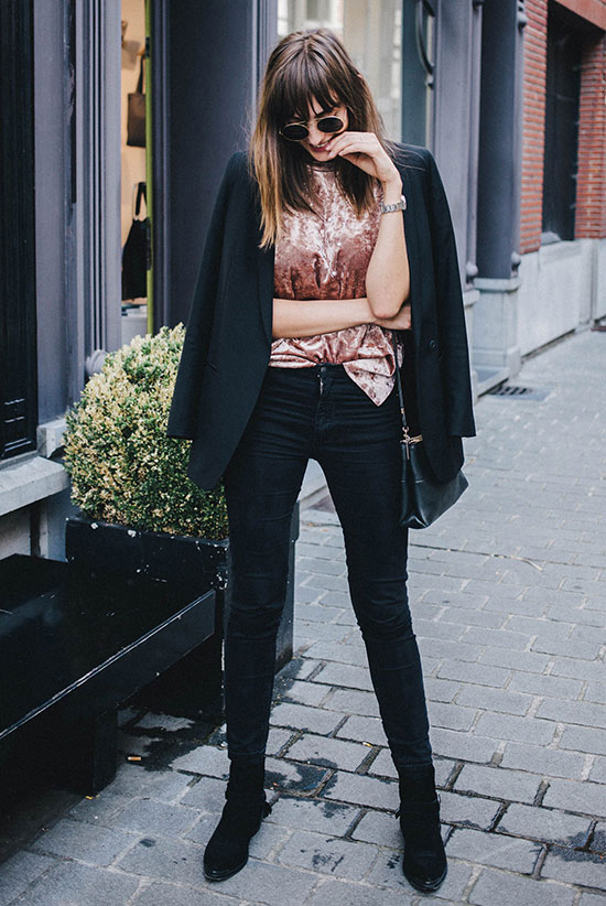 The Best Outfit Ideas Of The Week: Fashion blogger 'Polienne' wearing a black blazer, a pink velvet top, black skinny jeans, black pointy toe booties, round sunglasses and a black shoulder bag. Spring outfit, fall outfit, comfy outfit, casual outfit, night out outfit, boho outfit, boho chic outfit, street style, street chic style.