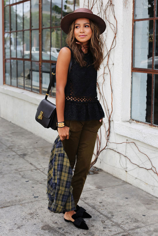 The Best Outfit Ideas Of The Week: Fashion blogger 'Sincerely Jules' wearing a brown flat hat, a black sleeveless peplum top, khaki cargo pants, black suede flat mules, a green plaid shirt and a black shoulder bag. Spring outfit, fall outfit, casual outfit, comfy outfit, travel outfit, airport outfit, spring layers, fall layers.