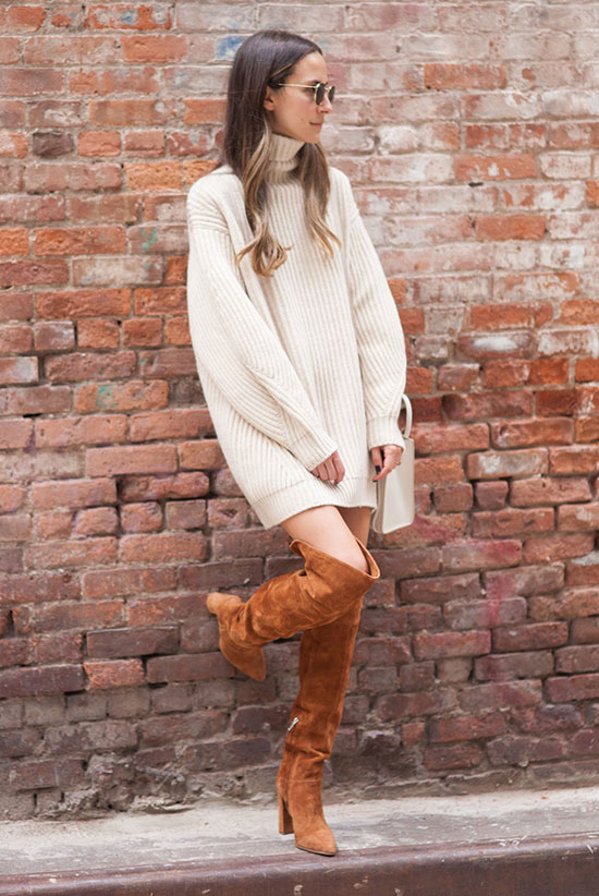 The Best Outfit Ideas Of The Week: Fashion blogger 'Something Navy' wearing a beige turtleneck sweater tunic, round sunglasses and brown suede over the knee boots. Fall outfit, casual outfit, nigh out outfit, comfy outfit, easy outfit, simple outfit.