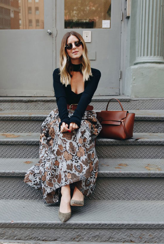 The Best Outfit Ideas Of The Week: Fashion blogger 'Take Aim' wearing a navy cutout sweater, a brown emroidered midi skirt, a brown belt, taupe heels, round sunglasses and a brown handbag. Fall outfit, night out outfit, casual outfit, business casual, office outfit, work outfit, party outfit, fall trends 2016.
