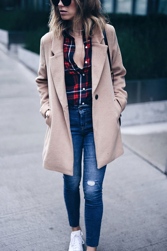 The Best Outfit Ideas Of The Week: Fashion blogger 'The August Diaries' wearing a camel coat, a red plaid shirt, skinny jeans, and white sneakers. Fall outfit, winter outfit, casual outfit, comfy outfit, sneakers outfits, athleisure outfit, easy outfit, simple outfit.